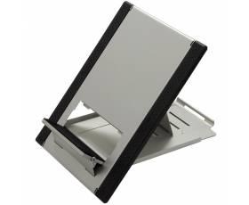 Laptop- en tabletstandaard zilver-zwart ingeklapt als mousepad
