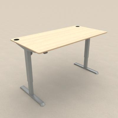 Zit sta bureau 501-33 zilver met esdoorn tafelblad