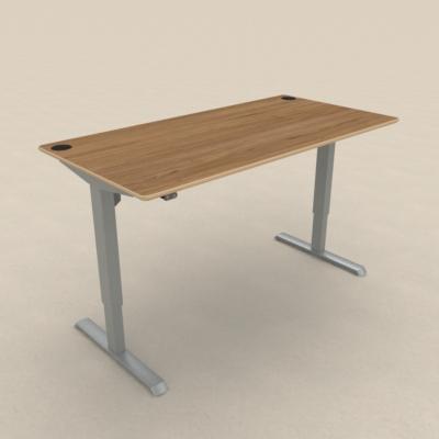 Conset zit sta bureau 501-33 zilvergrijs met eiken tafelblad